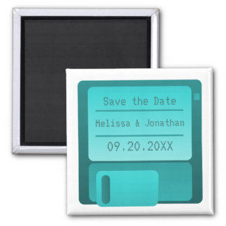 Floppy Disc Save the Date Magnet, Turquoise