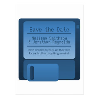 Floppy Disc Save the Date Postcard, Dark Blue