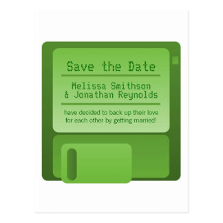 Floppy Disc Save the Date Postcard, Green