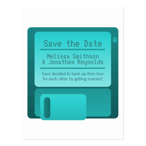 Floppy Disc Save the Date Postcard, Turquoise