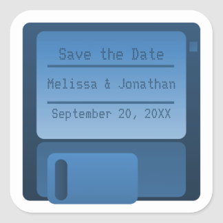Floppy Disc Save the Date Stickers, Dark Blue Square Sticker