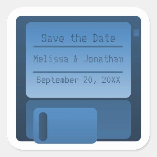 Floppy Disc Save the Date Stickers, Dark Blue Square Sticker