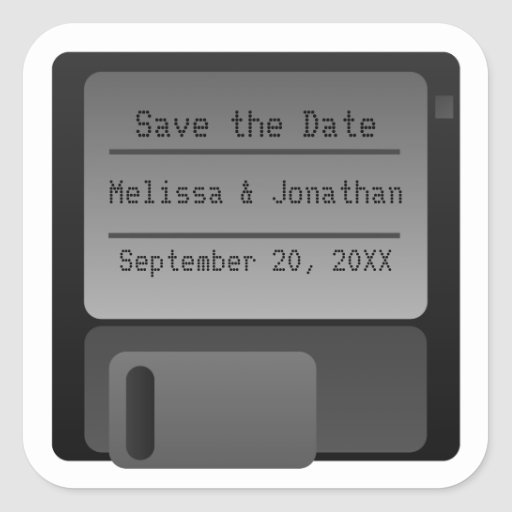 Floppy Disc Save the Date Stickers, Gray