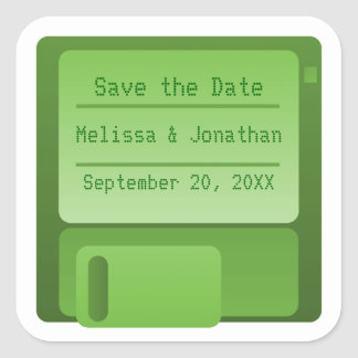 Floppy Disc Save the Date Stickers, Green Square Sticker