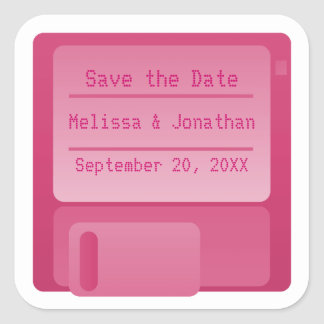Floppy Disc Save the Date Stickers, Magenta Square Sticker