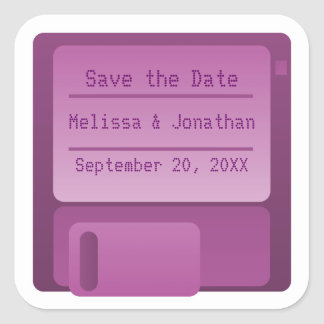 Floppy Disc Save the Date Stickers, Purple Square Sticker