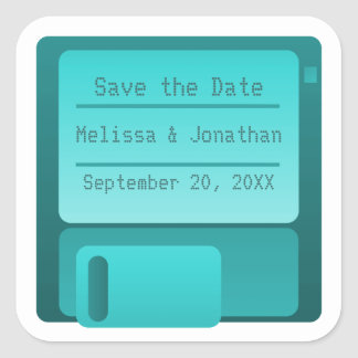 Floppy Disc Save the Date Stickers, Turquoise Square Sticker