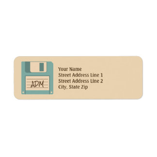 Floppy Disco Retro Style Monogram Return Address Label