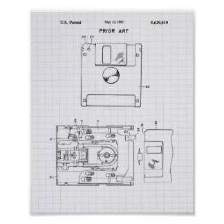 Floppy Disk 1997 Patent Art - Lined Peper Poster