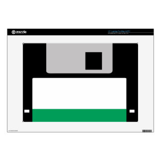 """Floppy Disk (Black/Emerald Green) Decal For 15"""" Laptop"""