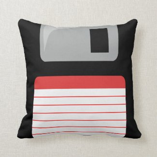 Floppy Disk Pillow - black, silver and red