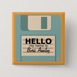 Floppy Diskette Personalized Name Badge Button