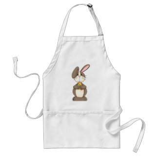 Floppy Ear Bunny Holding Three Colored Eggs Adult Apron