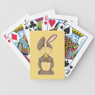 Floppy Ear Bunny Holding Three Colored Eggs Bicycle Playing Cards
