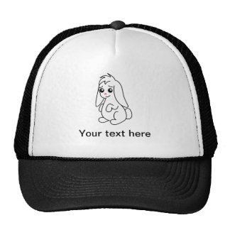 Floppy Ear Cute White Bunny Rabbit Trucker Hat
