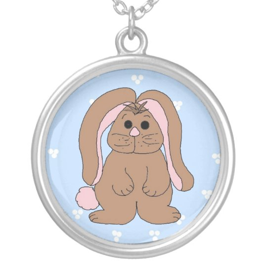 Floppy Eared Bunny Rabbit Silver Plated Necklace