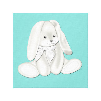 Floppy Teal Blue Plush Bunny Baby Canvas Art Canvas Print