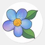Flor 01 - Azul Pegatina Redonda