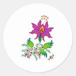 Flor 1 de la fantasía etiqueta redonda