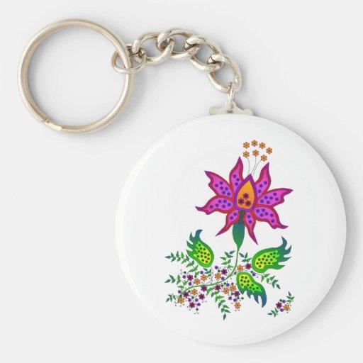 Flor 1 de la fantasía llaveros personalizados