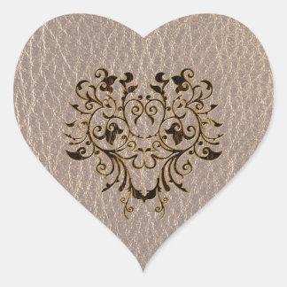 Flor 2 de la Cuero-Mirada suave Pegatina En Forma De Corazón
