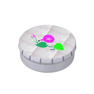 FLOR 3D   en la foto cristalina de plata sedosa Frascos De Caramelos