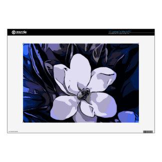 Flor abstracta blanca del negro azul 38,1cm portátil calcomanías