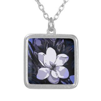 Flor abstracta blanca del negro azul colgante cuadrado