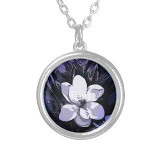 Flor abstracta blanca del negro azul colgante redondo