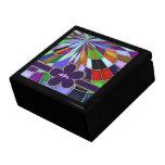 Flor abstracta colorida con monograma del vitral caja de recuerdo