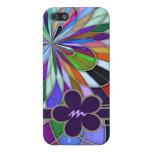 Flor abstracta colorida con monograma del vitral iPhone 5 cárcasas