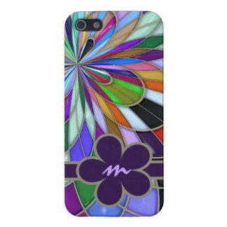 Flor abstracta colorida con monograma del vitral iPhone 5 funda