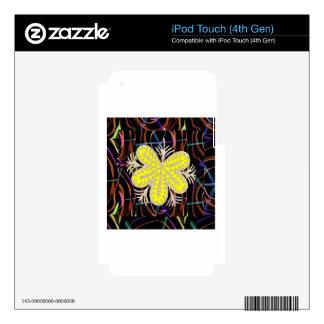FLOR abstracta de la mirada de la mariposa de 100 iPod Touch 4G Skin