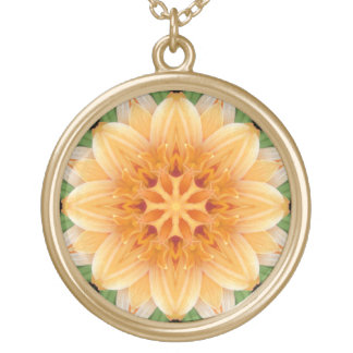 Flor abstracta del caleidoscopio del naranja y del collares