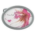 Flor abstracta del hibisco hebilla de cinturon oval