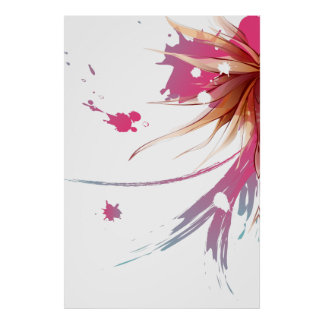 Flor abstracta del hibisco póster
