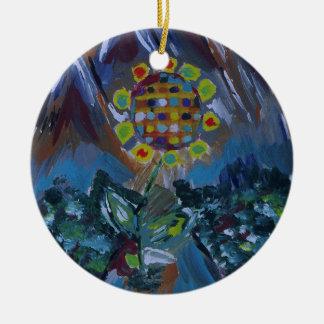 Flor abstracta del mosaico con tonos de la tierra adorno de reyes