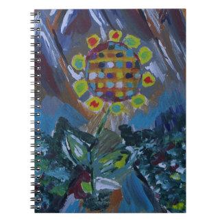 Flor abstracta del mosaico con tonos de la tierra libro de apuntes