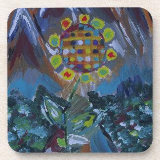 Flor abstracta del mosaico con tonos de la tierra posavasos de bebida