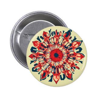 FLOR abstracta del SOL - azul rojo + su backgr. Pin Redondo 5 Cm