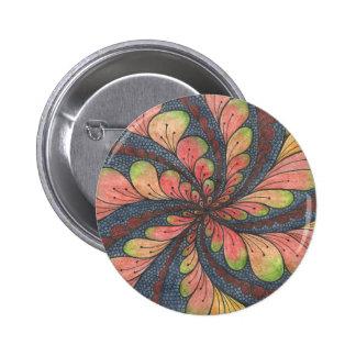 Flor abstracta pintada a mano de la acuarela pin redondo 5 cm