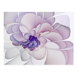 Flor abstracta púrpura de la coqueta tarjetas postales