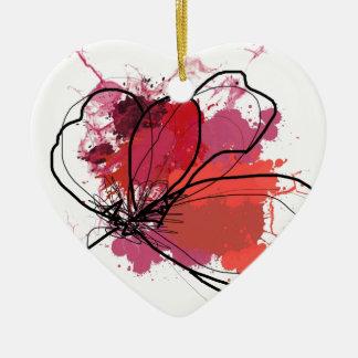 Flor abstracta roja .JPEG del chapoteo del cepillo Adorno De Cerámica En Forma De Corazón