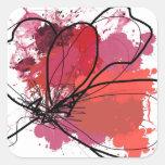 Flor abstracta roja .JPEG del chapoteo del cepillo Calcomania Cuadradas Personalizada