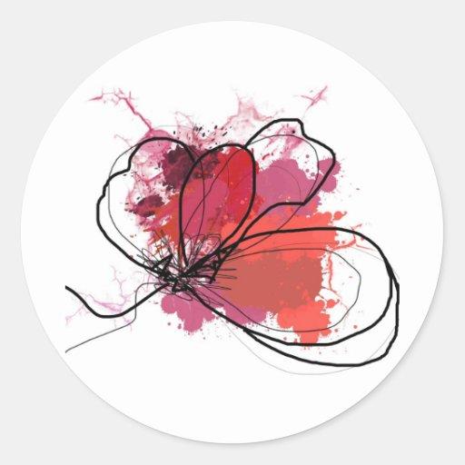 Flor abstracta roja .JPEG del chapoteo del cepillo Pegatina Redonda