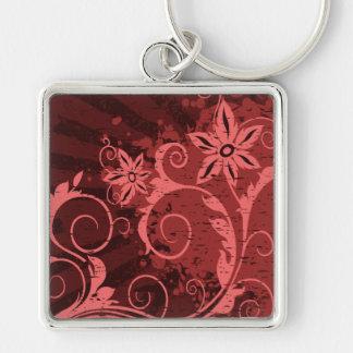 Flor abstracta roja y rosada llavero cuadrado plateado