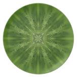 Flor abstracta verde y blanca platos