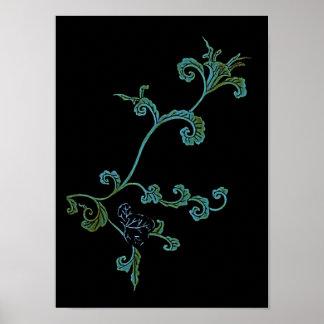 Flor adornada del azul y del oro póster