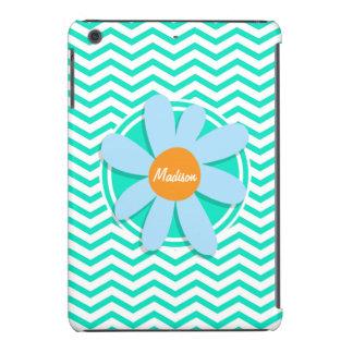 Flor; Aguamarina Chevron verde Carcasa Para iPad Mini