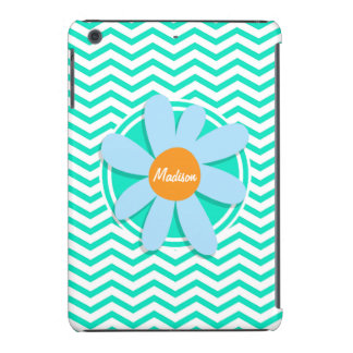 Flor; Aguamarina Chevron verde Funda De iPad Mini